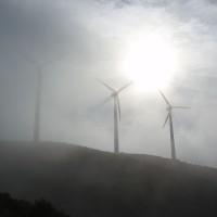 Větrníky v mlze